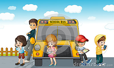Kids standing outside school bus