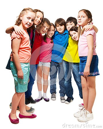 Kids standing in semi-circle