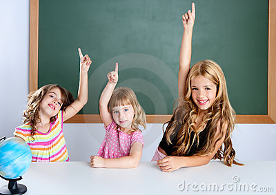 Kids student clever girls in classroom