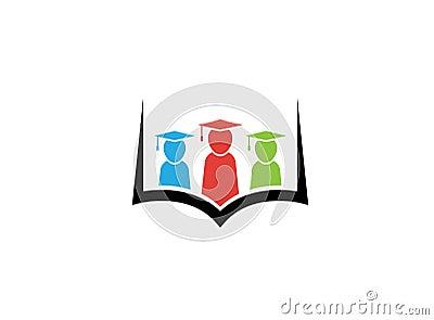 Kids or students wearing graduation hat inside a book for logo design Cartoon Illustration