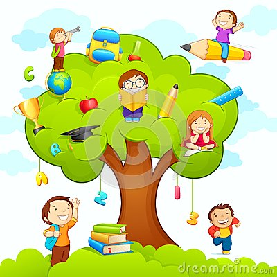 Free Kids Studying On Tree Stock Image - 25952571