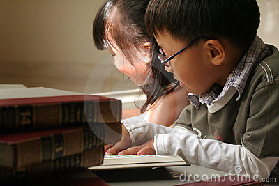 Kids studying together