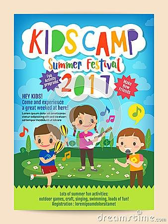 Kids Summer Camp Education Poster Flyer Stock Vector