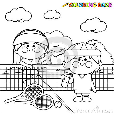 Free Kids Tennis Players At Tennis Court Taking A Break Coloring Book Page Royalty Free Stock Image - 84213266