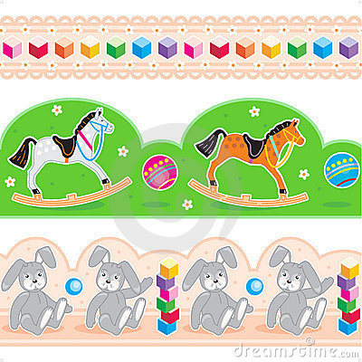Kids toys borders seamless patterns