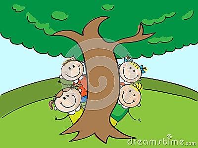 Kids and tree
