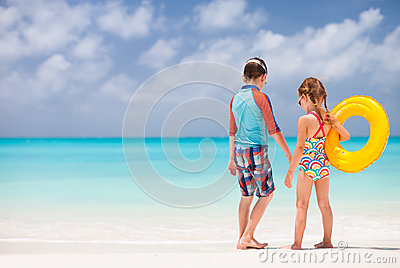 Kids at tropical beach
