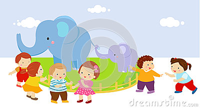 Kids with two elephants in zoo Vector Illustration