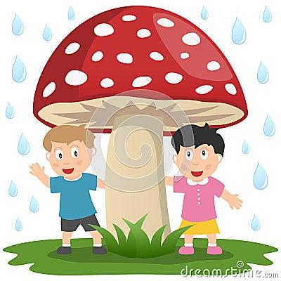 Kids under a Giant Mushroom