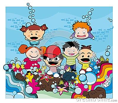 Kids under the sea