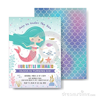 Free Kids Under The Sea Birthday Party Invitation Card Stock Images - 119683524