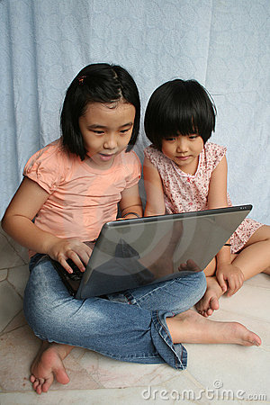 Kids using laptop