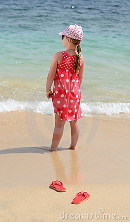 Kids vacation on tropical beach