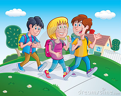 Kids Walking Home From School Stock Photo - Image: 66441690