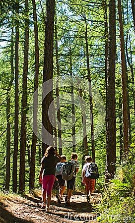 Kids walking in mountain