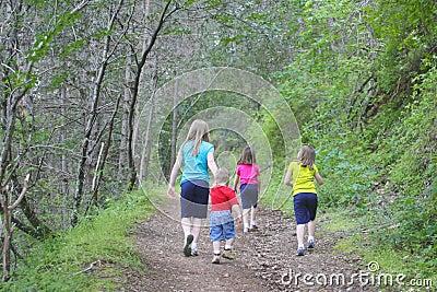 Kids walking on the trail