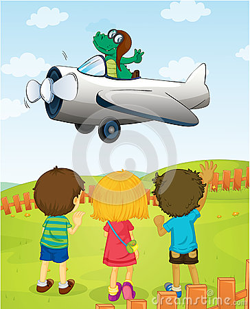 Kids watching crocodile flying plane