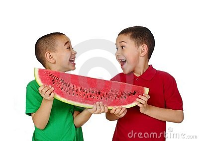 Kids and watermelon