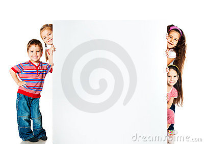 Kids beside a white blank