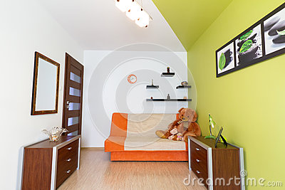 Kids white and green bedroom