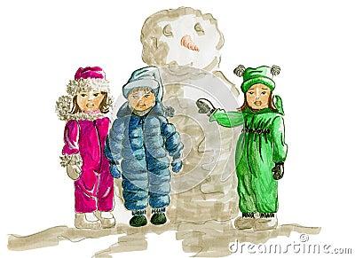 Kids Winter Fashion Sketch