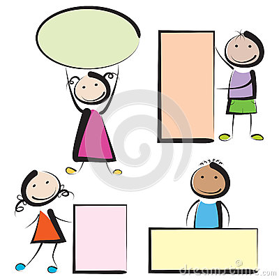 Free Kids With Banners Royalty Free Stock Image - 31207326
