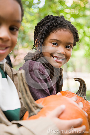 Free Kids With Pumpkins Stock Images - 36095294