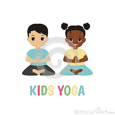 Children yoga logo Vector Illustration