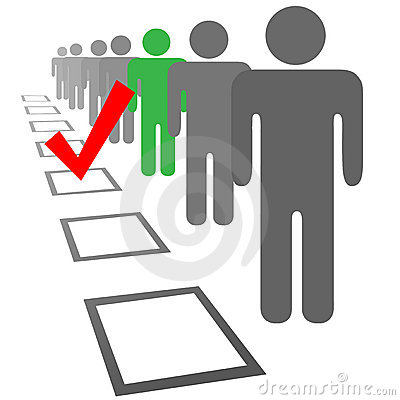 Kies mensen in de stemdozen van de selectieverkiezing