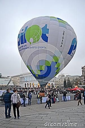 Kiev aeronautic sport Club presents air ballon, Editorial Stock Photo