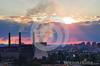 Kiev heat power plant Darnytska city view. Sunset