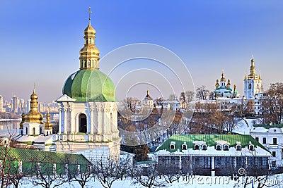 Kiev Pechersk Lavra Orthodox monastery in snow