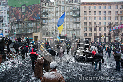 KIEV, UKRAINE: Crowd of people protest with flags  Editorial Stock Image