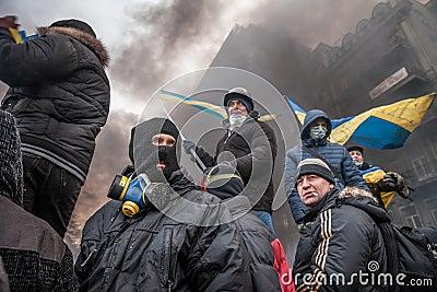 KIEV, UKRAINE - January 25, 2014: Mass anti-government protests Editorial Image
