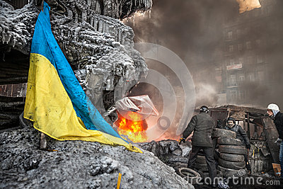 KIEV, UKRAINE - January 25, 2014: Mass anti-government protests Editorial Stock Photo