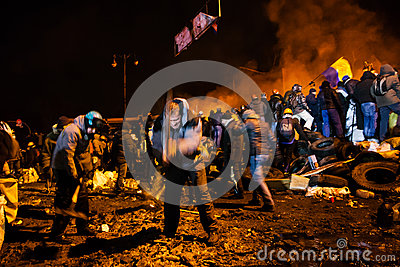 KIEV, UKRAINE - January 24, 2014: Mass anti-government protests