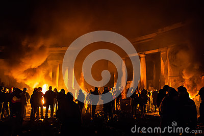KIEV, UKRAINE - January 24, 2014: Mass anti-government protests Editorial Photo