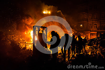 KIEV, UKRAINE - January 24, 2014: Mass anti-government protests Editorial Stock Photo