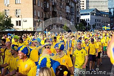KIEV, UKRAINE - JUNE 11: Cheering Sweden fans go to stadium befo Editorial Stock Image