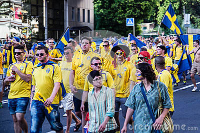 KIEV, UKRAINE - JUNE 11: Cheering Sweden fans go to stadium befo Editorial Stock Image