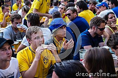 KIEV, UKRAINE - JUNE 10: Cheering Sweden and Ukrainian fans have Editorial Image