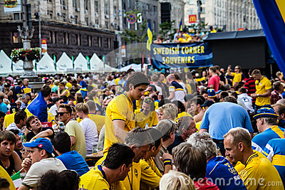 KIEV, UKRAINE - JUNE 10: Cheering Sweden and Ukrainian fans have Editorial Stock Photo