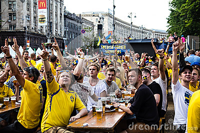 KIEV, UKRAINE - JUNE 10: Swedish fans have fun during UEFA Euro Editorial Stock Image