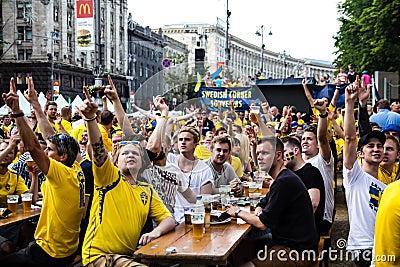 KIEV, UKRAINE - JUNE 10: Swedish fans have fun during UEFA Euro Editorial Stock Image