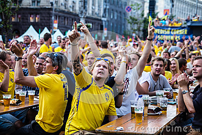 KIEV, UKRAINE - JUNE 10: Swedish fans have fun during UEFA Euro Editorial Stock Photo