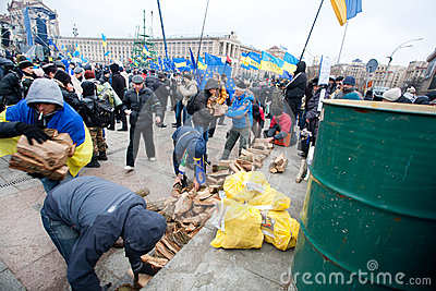 KIEV, UKRAINE: People occupide main Maidan during the pro-European protest Editorial Stock Image