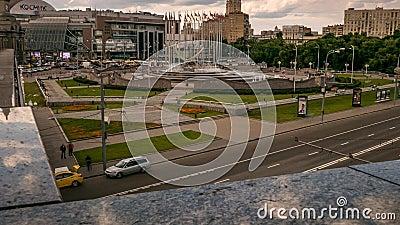 Kievsky Railway Station Square fountain, zoom, pan stock video