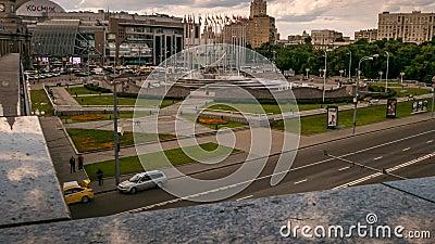 Kievsky Railway Station Square fountain, zoom, pan stock footage