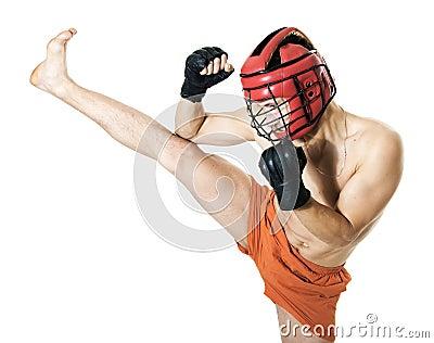 Kikboxing training. High side kick. Martial art