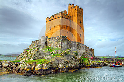 Kilcoe castle on the coast of Ireland